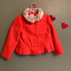 Gymboree Red button up coat with faux fur collar